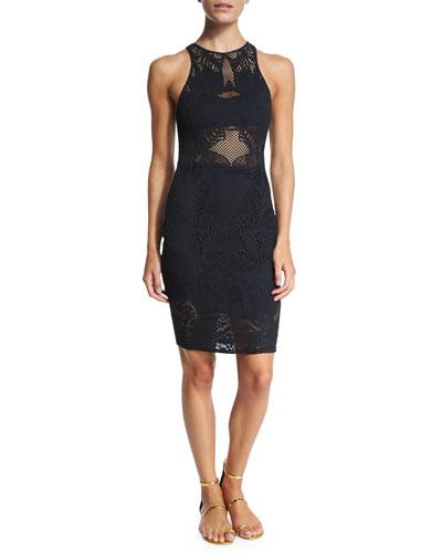 Floral-Lace Jacquard Midi Dress