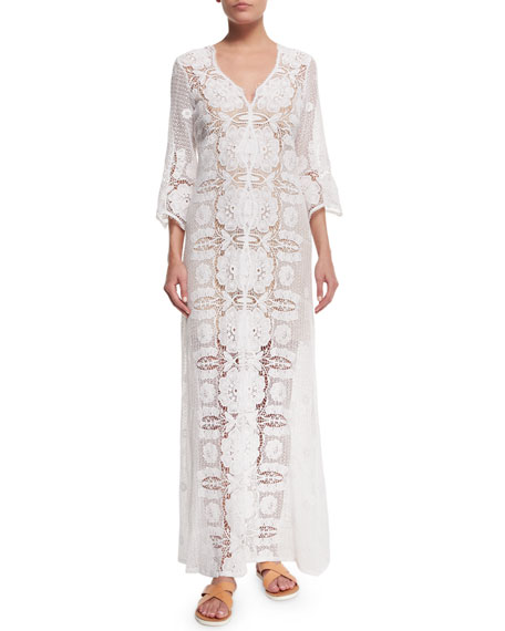 Miguelina Karina Floral-Crochet Coverup Dress