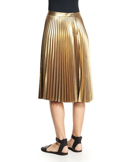 A L C Ali Metallic Crop Top Amp Gates Pleated Metallic Skirt