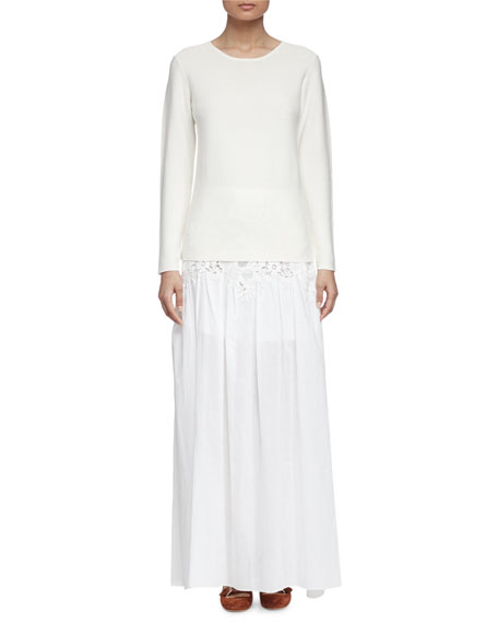 See by Chloe Long-Sleeve Pullover Sweater, Off White