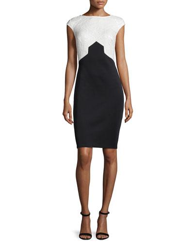 Cap-Sleeve Two-Tone Sheath Dress
