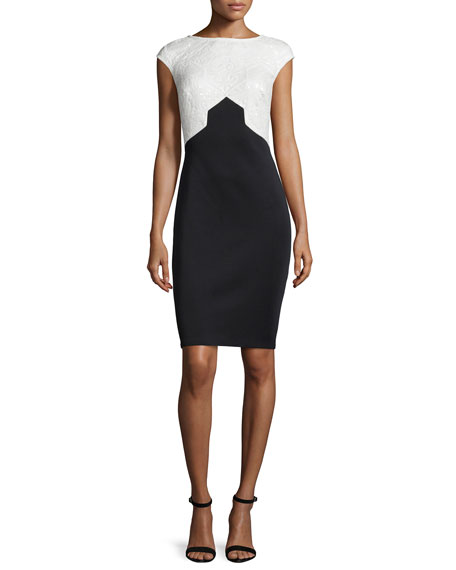 Tadashi Shoji Cap-Sleeve Two-Tone Sheath Dress