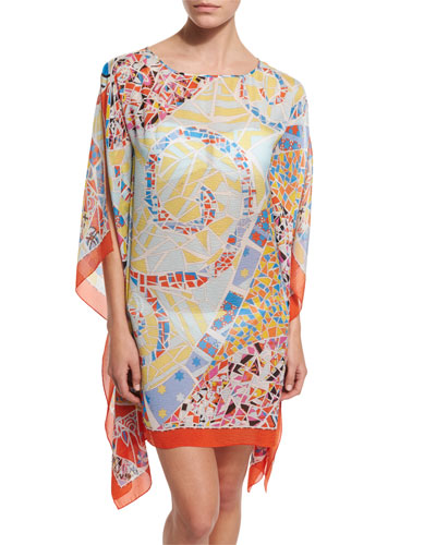 Light Mosaico Printed Silk Caftan Coverup