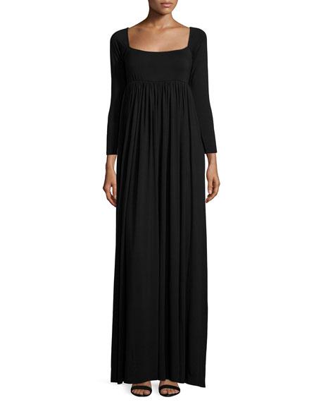 Isa 3/4-Sleeve Empire-Waist Jersey Maxi Dress