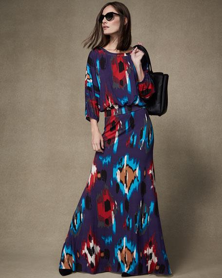 Rachel Pally Aurora 3/4-Sleeve Ikat-Print Maxi Dress