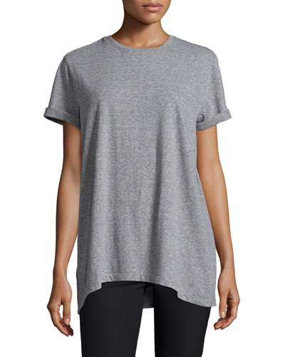 Zoe Rolled-Sleeve Tee, Heather Gray
