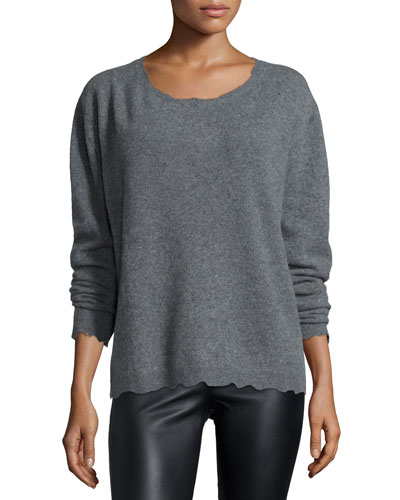 Charlotte Long-Sleeve Cashmere Sweater, Heather Gray