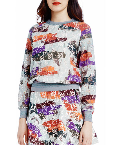 Crewneck Lace-Print Sweatshirt