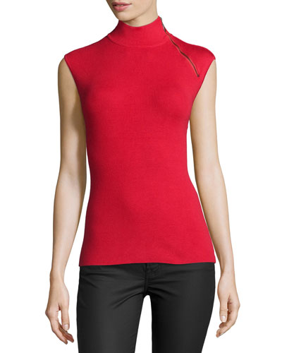 Mock-Neck Zip-Shoulder Pullover Top