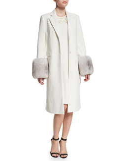 Long Fur-Trim Tailored Coat, White