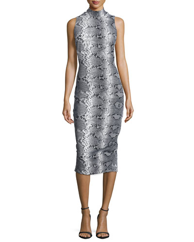 Mock-Neck Snake-Print Sheath Dress, Python Multi