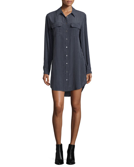 Equipment Slim Signature Long-Sleeve Shirtdress, Black/White