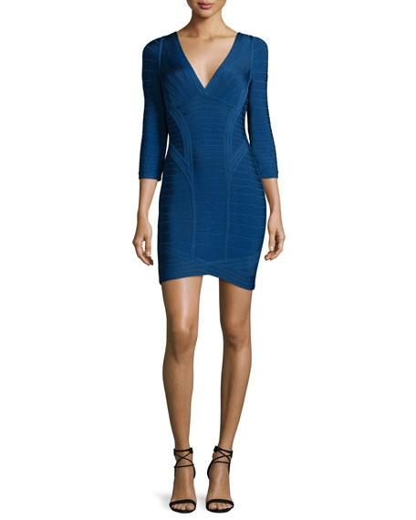 Herve Leger 3/4-Sleeve Bandage Dress, Royal Blue