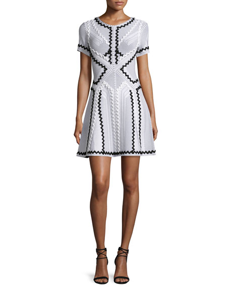 Herve Leger Ric-Rac Design Flounce Dress, Alabaster Combo