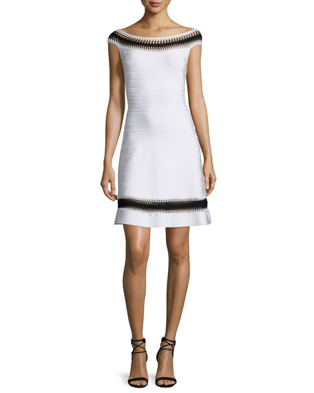 Herve Leger Off-The-Shoulder Crochet-Inset Dress, Alabaster Combo