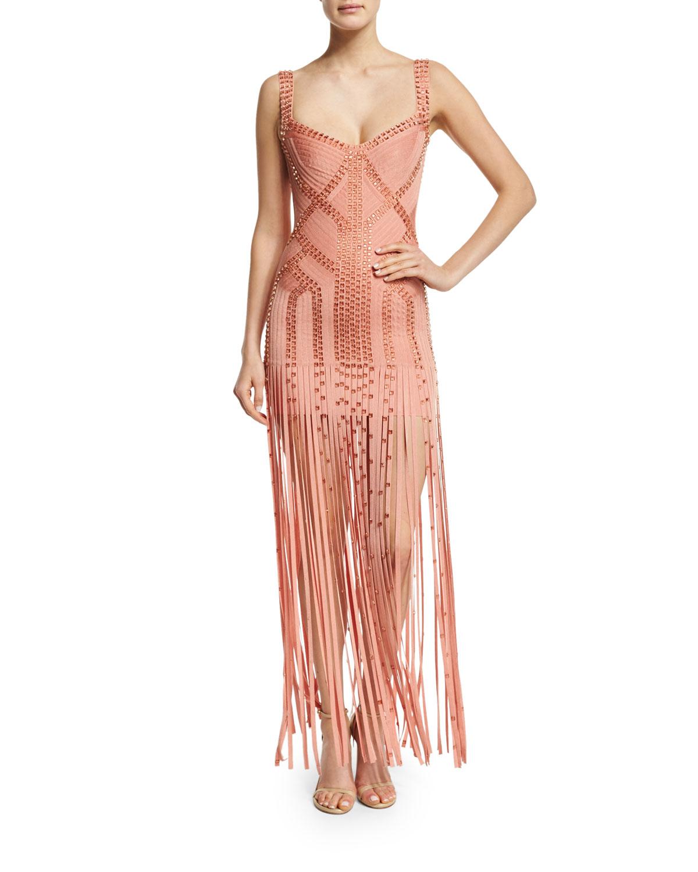 Herve Leger Sleeveless Embellished Bandage Gown, Blush | Neiman Marcus