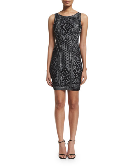 Herve Leger Sleeveless Round-Neck Jacquard Dress, Black Combo