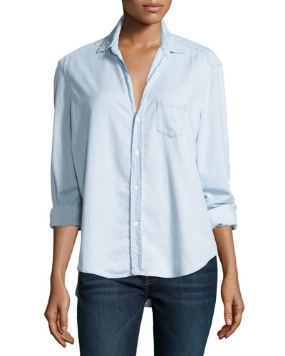 Eileen Button-Front Chambray Shirt, Blue