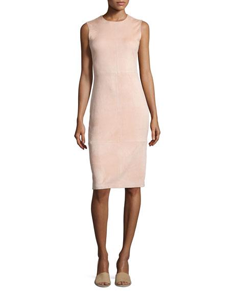 Theory Eano L Stretch Suede Sheath Dress