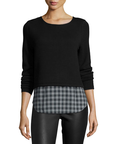 Coco Long-Sleeve Top W/Plaid Hem, Black
