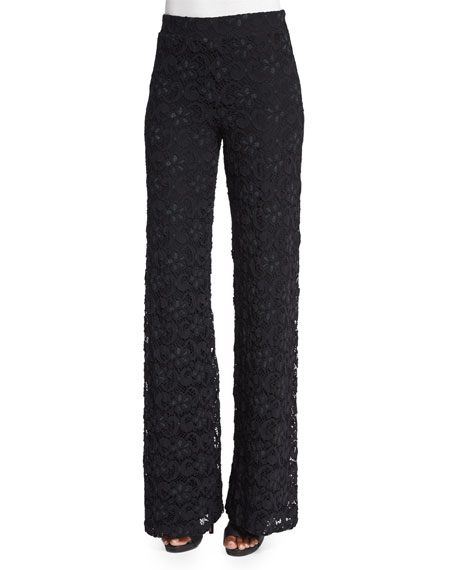 Nightcap Clothing Dixie-Lace High-Waist Trousers, Black