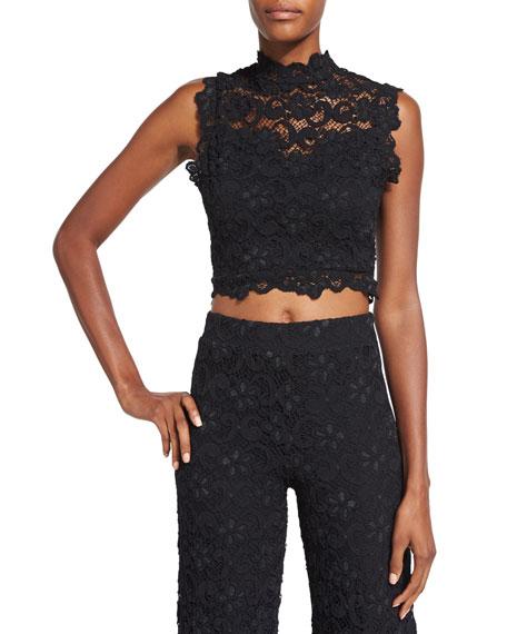 Dixie-Lace Crop Top, Black