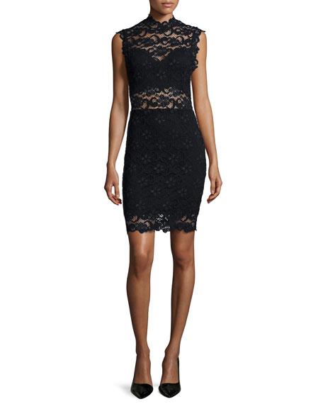 Nightcap Clothing Dixie-Lace Sleeveless Sheath Dress, Black