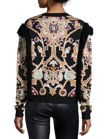 Tilda Printed Sweater W/Fringe, Multi Colors