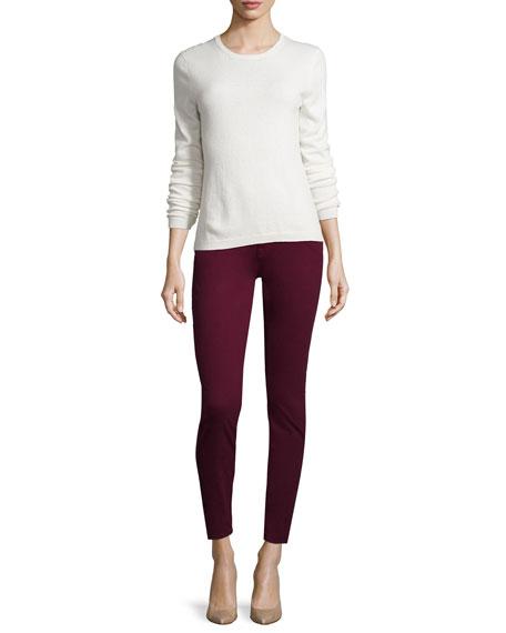 Sateen Skinny Jeans, Burgundy