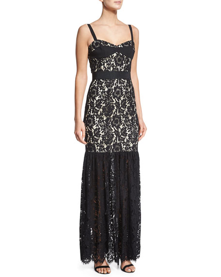 Milly Sleeveless Lace Bustier Mermaid Gown