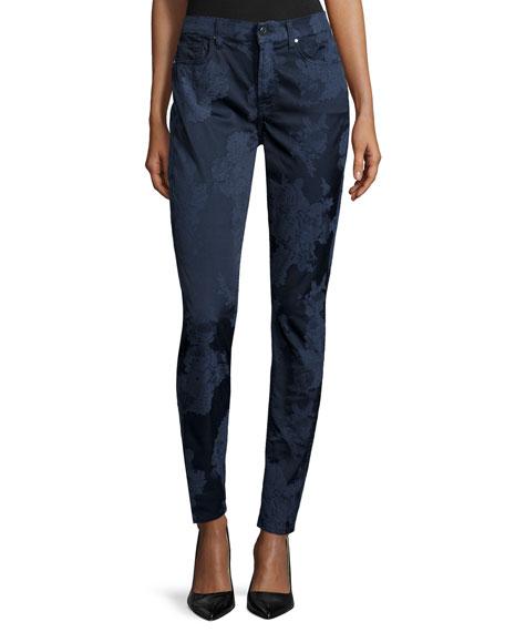 JEN7 Night Floral Jacquard Skinny Jeans