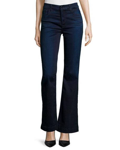 JEN7 Flare-Leg Two-Tone Jeans