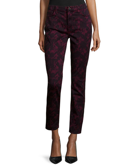 JEN7 Floral-Print Skinny Jeans