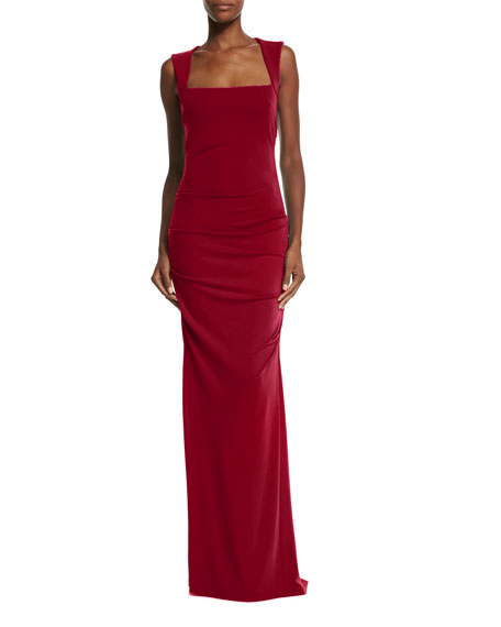 Sleeveless Ruched Jersey Gown, Red