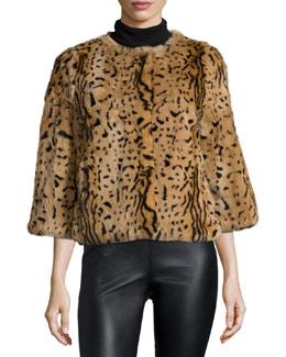 3/4-Sleeve Animal-Print Fur Coat