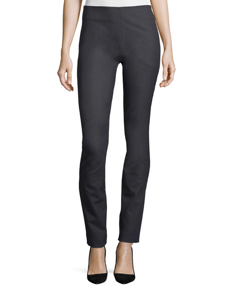 Joseph Side-Zip Straight-Leg Pants, Steel