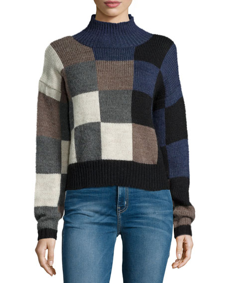 Current/Elliott The Boxy Long-Sleeve Sweater, Checkered Shades