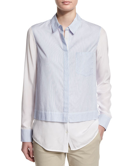Vince Textured Ombre Cocoon Sweater, Layered Striped Button-Down