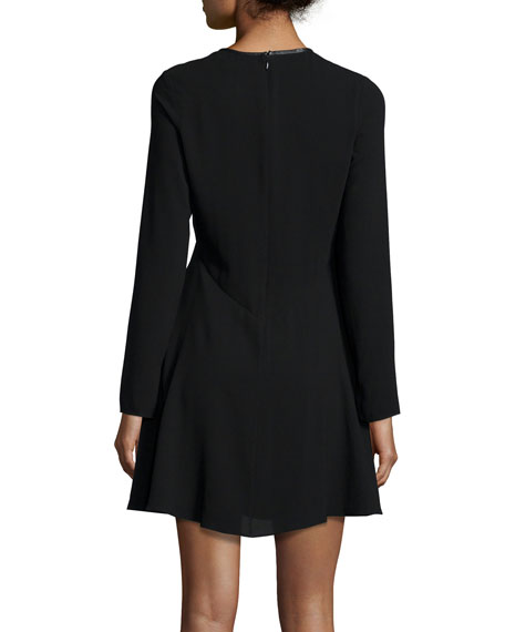 Long-Sleeve Turn-Lock Empire-Waist Dress