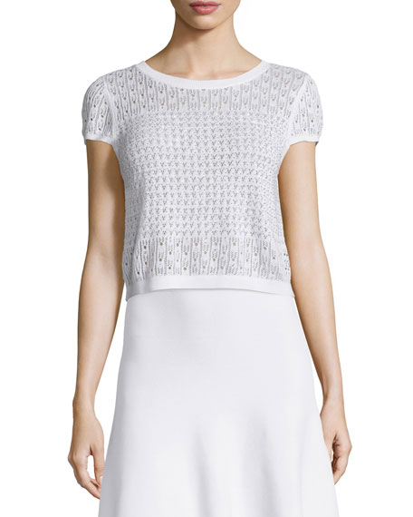 Alice + OliviaEster Short-Sleeve Eyelet Sweater, White Metallic