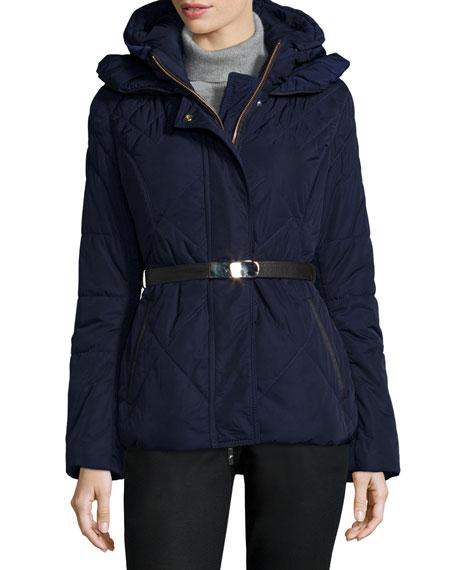 Apres-Ski Fur-Hood Belted Puffer Jacket