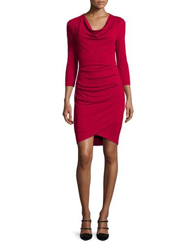 3/4-Sleeve Cowl-Neck Asymmetric Dress