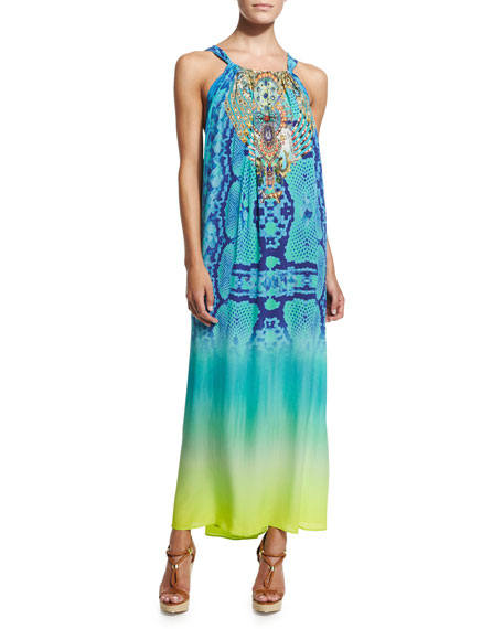 Camilla Beaded-Front Racerback Coverup Dress