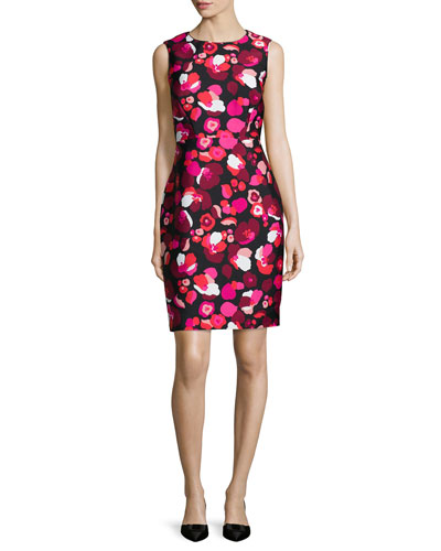 sleeveless floral-print cocktail sheath dress
