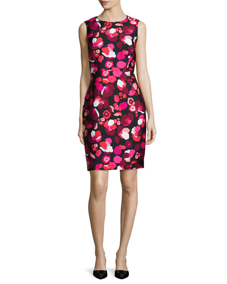 kate spade new york sleeveless floral-print cocktail sheath dress