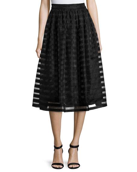 Quinne Striped Organza Midi Skirt