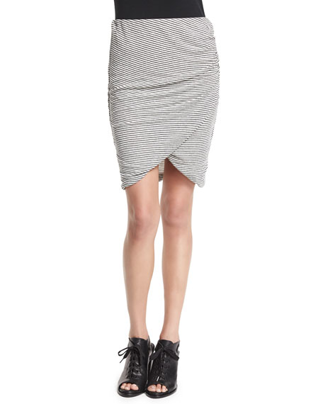 Alice + Olivia Arminda Striped Faux-Wrap Skirt, Black/White