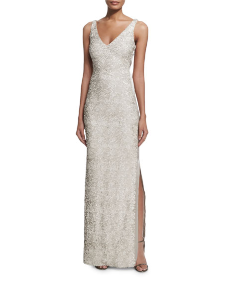 Halston Heritage Sleeveless Sequined Gown W/ Side Slit