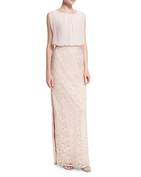 Aidan Mattox Bridesmaid Chiffon-Top Lace-Skirt Gown, Petal