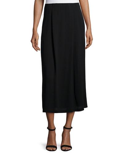 Pleated Straight Silk Georgette Skirt